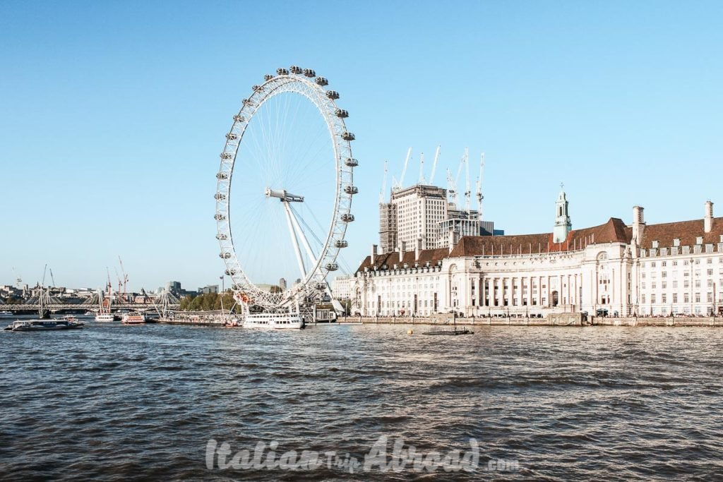 London view of the London Eye - London in 4 Days