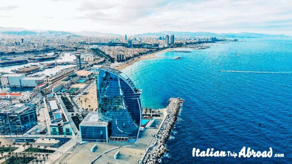 Barcelona view of Barceloneta, the best photo spot in Barcelona - Barcelona Instagrammable