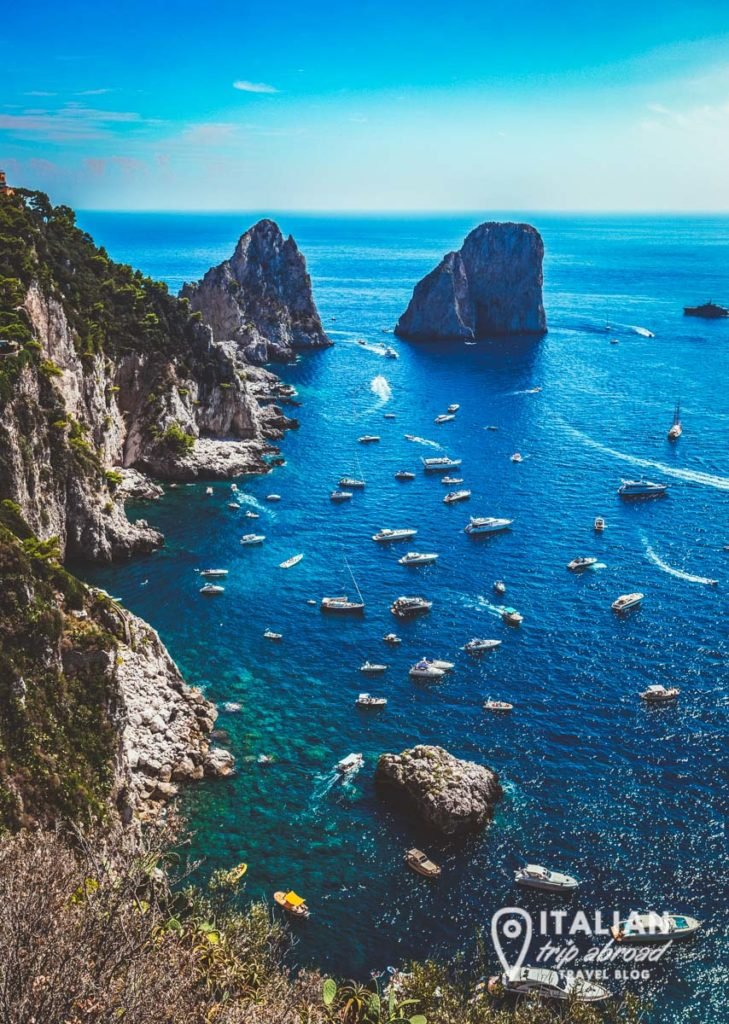 Capri, Italy - View from the top the rocks - Faraglioni of Capri