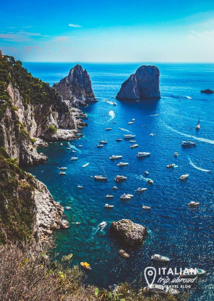 Capri, Italy - View from the top the rocks - Faraglioni of Capri
