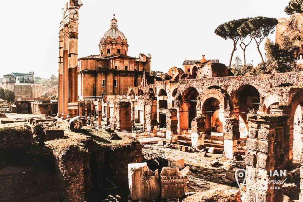 Rome ancient ruins of Via dei fori imperiali