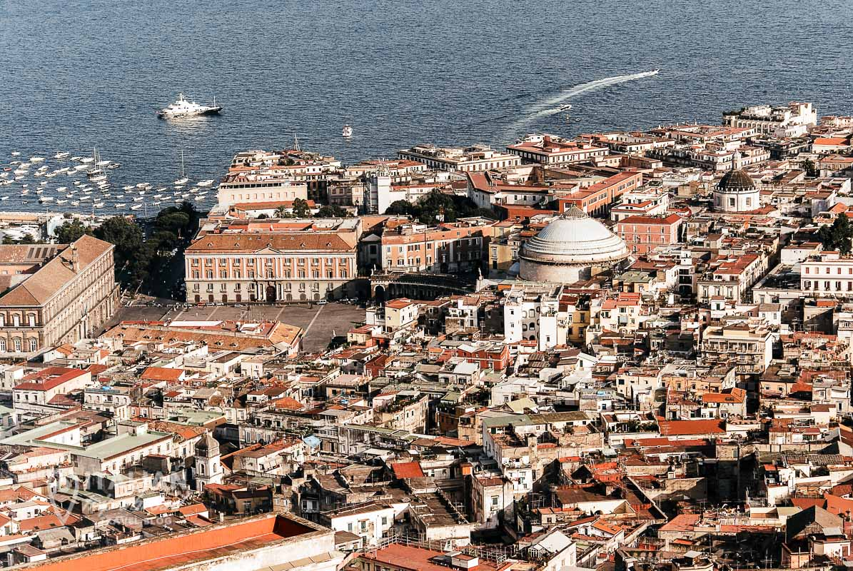 Aerial View over Naples Italy Seaside