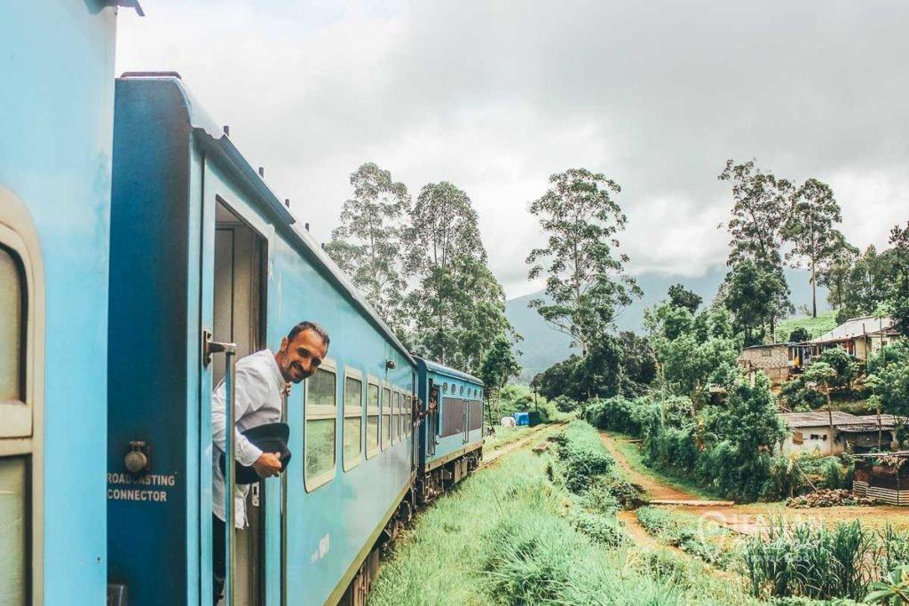 Tea plantation crossing with the popular instagrammable blue train of Sri Lanka