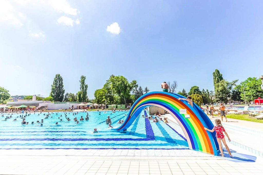 The outdoor wave pool of Palatinus Strand Baths