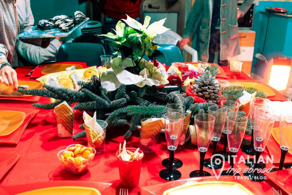 A tipical Italian food table for Christmas in Naples