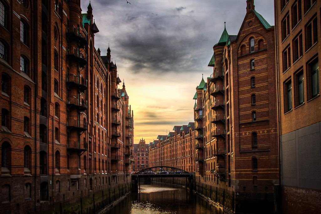 Canals of Hamburg at the sunset