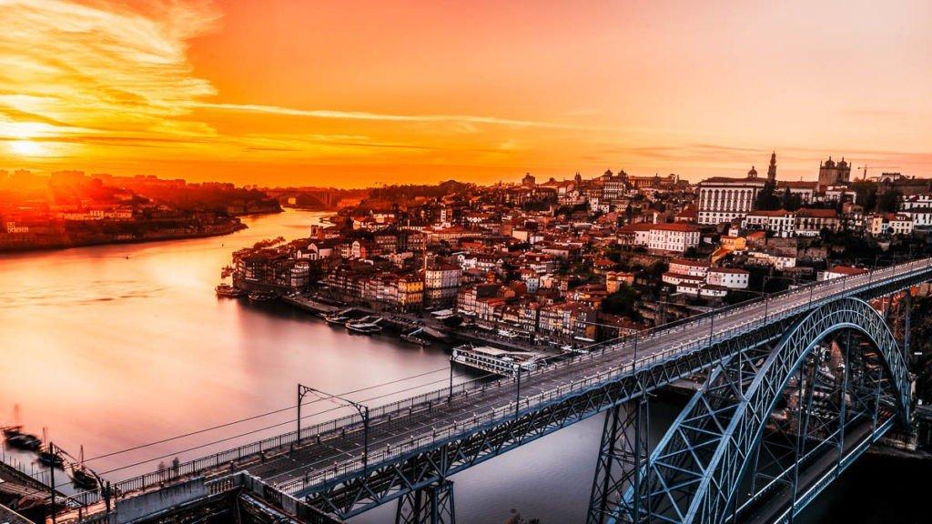 Sunset in Porto Portugal - Luis 1 Bridge