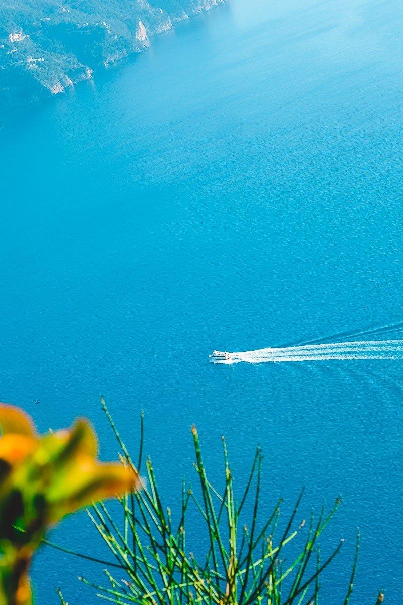 Amalfi Coast landscape and blue water sea coast
