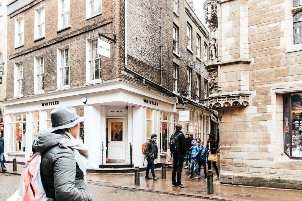 Regent Street in Cambridge, shops and restaurants