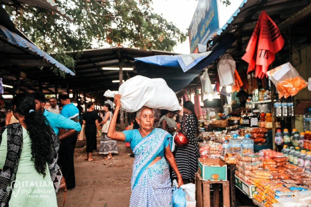 Jaffna Market with locals buying from merchants in the street stands