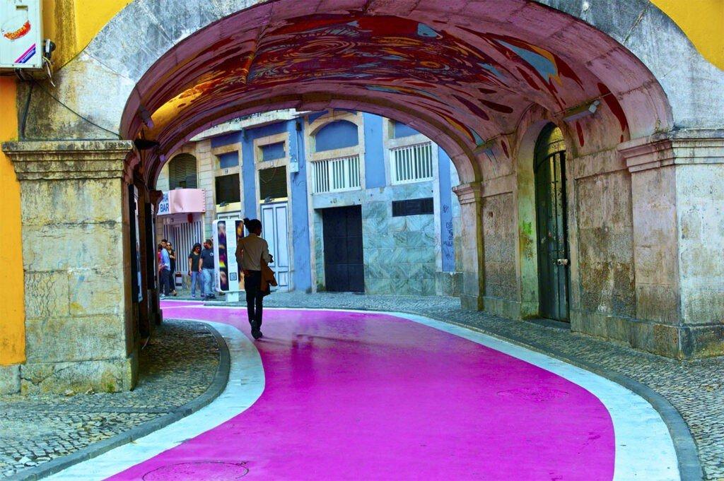 The bridge on Pink Street Lisbon