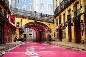 Pink Street of Lisbon at sunrise
