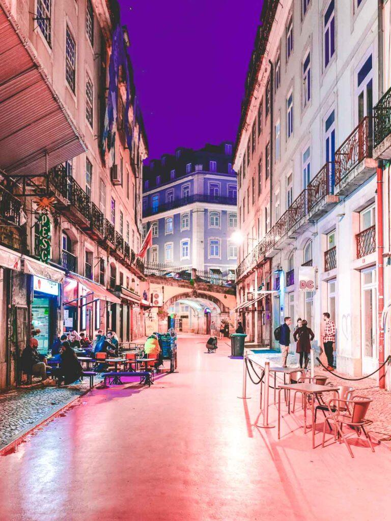 Pink Street at night - Clubbing in Lisbon