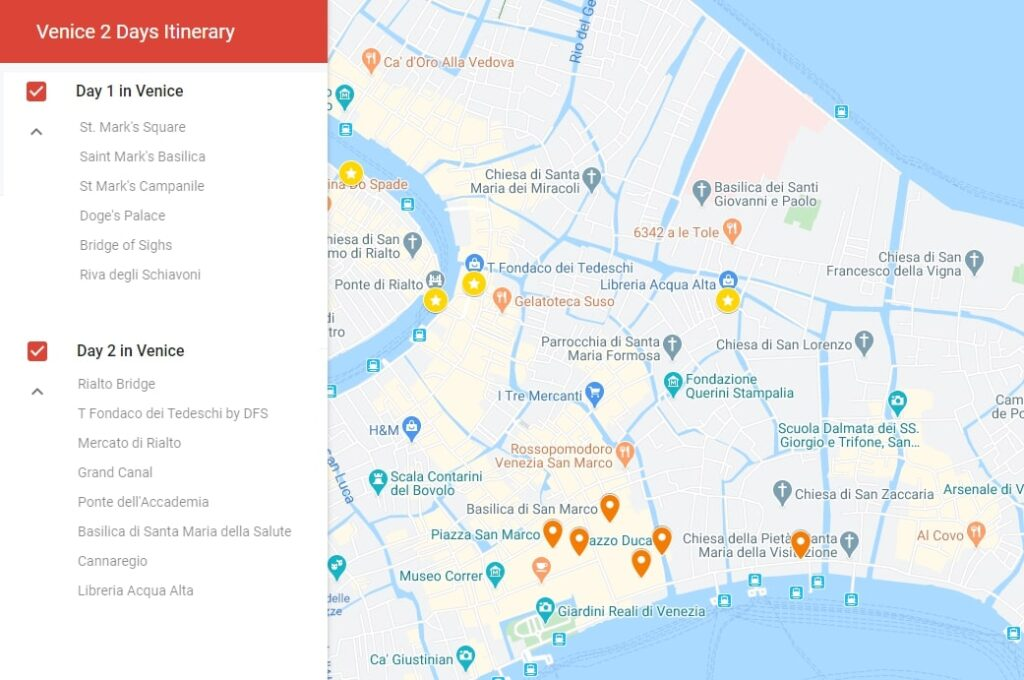 Map of activities to do in Venice two days itinerary