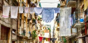 Naples hidden halleys and narrow streets between the buildings - Italy